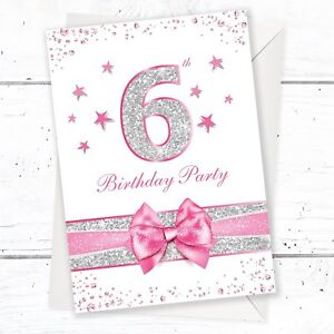 Image Is Loading 6th Birthday Party Invitations Pink Sparkly Design And