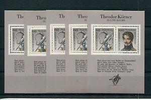 5-x-Bund-Nr-Block-25-sauber-postfrisch-BRD-1991-mit-Nr-1559-1560-Koerner