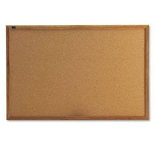 Office Impressions™ Cork Bulletin Board, 36 x 24, Natural, Oak Frame
