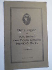 Berlin - Corps Cimbria im NDC - 1925 - Satzungen der AH-Schaft / Studentika