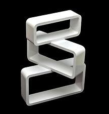 3er Set Lounge Regal Design Retro 70er Cube Wandregal Hängeregal in Weiß D70 NEU