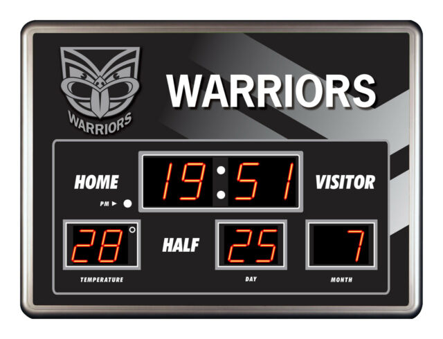 Licensed NRL NEW ZEALAND WARRIORS Rugby SCOREBOARD LED Glass Clock Man Cave