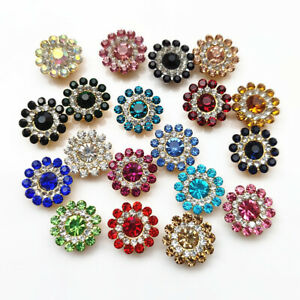 10PCS-14mm-Flower-shaped-Rhinestone-Buttons-Sparkling-Crystal-Glass-Stone-NEW