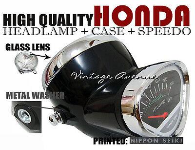 HONDA S90 SS50 CS50 CF50 CF70 CL70 SL90 HEAD LIGHT+SPEEDOMETER+CASE *M-BLACK [V]
