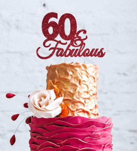 60 /& Fabulous Cake Topper-Happy 60th Birthday Cake Topper-Pailleté Rose Foncé