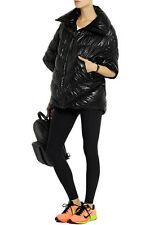 NWT NIKE SzS CASCADE PONCHO GLOSSY FAUX LEATHER 3/4 SLEEVE JACKET BLACK $300.