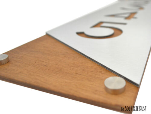 Alucobond with Varnish Dark Oak Contemporary Vertical 3 Modern House Numbers