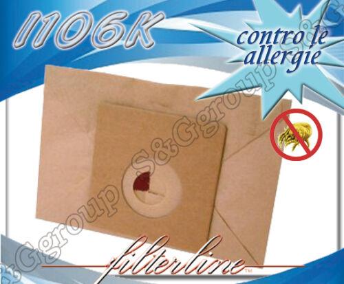 I106K 8 sacchetti filtro sacco busta in carta per aspirapolvere Imetec HPV 8320