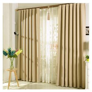 verdunkelung vorhang mit kr uselband blickdicht schal gardine beige 140x245cm ebay. Black Bedroom Furniture Sets. Home Design Ideas