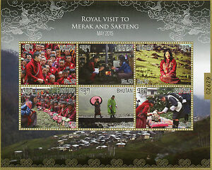 Bhutan 2015 MNH Royal Visit to Merak & Sakteng 6v M/S Jigme Wangchuck