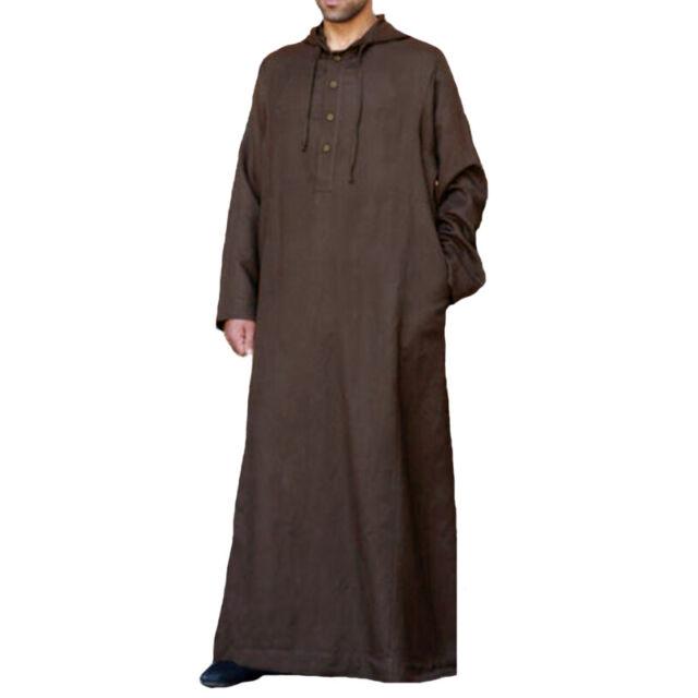 Mens Long Sleeve Muslim Hooded Kaftan Thobe Islamic Arab Dishdash Caftan Robe US