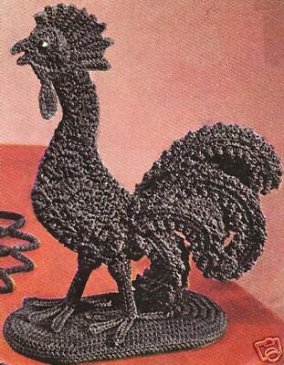 Vintage Crochet Pattern To Make Kitchen Rooster Sculpture