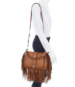 c26411caf1e162 Image is loading Michael-Kors-Lillie-Medium-Leather-Fringed-Top-Handle-