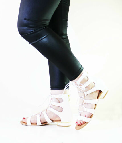 LADIES WOMENS LACE UP BLOCK LOW HEELS CAGED CHUNKY SANDALS STRAP SHOES SIZE UK