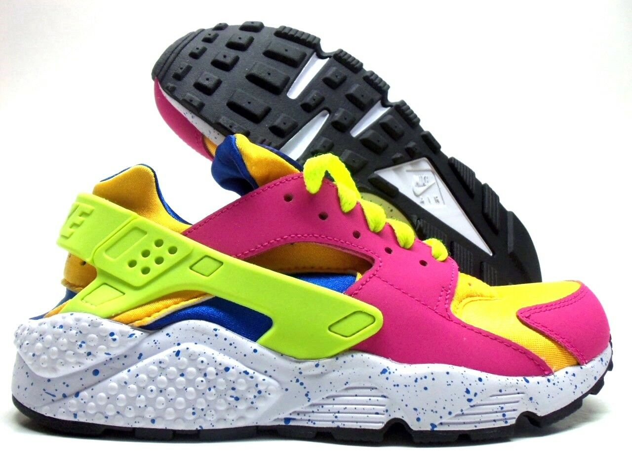 NIKE AIR HUARACHE RUN ID VIVID PINK YELLOW-WHITE-LIME SZ WOMEN'S 7 [777331-972]