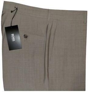 NEW-HUGO-BOSS-BLACK-LABEL-TAUPE-FLAT-FRONT-100-WOOL-ALL-SEASON-DRESS-PANTS-33