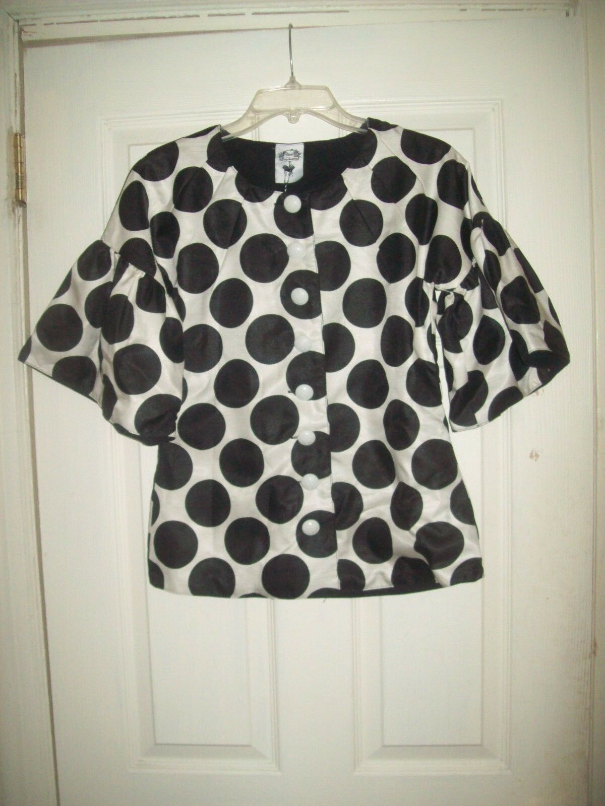 Nuvula Blouse XS NWT New Weiß schwarz Polka Dot Ruffle Sleeve Jacket Unique
