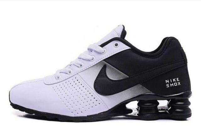 reputable site d8a87 f9458 MENS BLACK AND WHITE NIKE SHOX ATHLETIC RUNNING SHOES SIZES 7-11