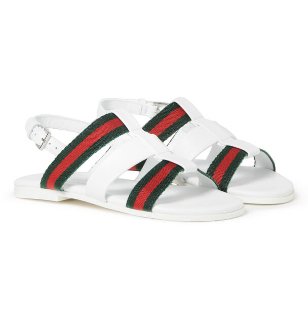 9ca22294a NIB NEW Gucci girls white red green / pink gray web sandals 30 31 32 340834