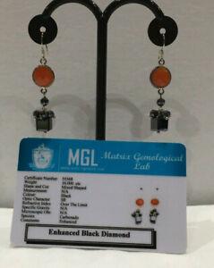 Genuine-Black-16ct-Diamond-Drop-Silver-Wire-Earrings-Carnelian-stones-Cert