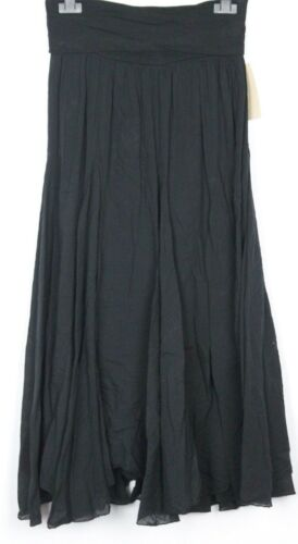 New Ladies Lagenlook Italian Comfy Light Casual Flowy A-line Panel Inserts Skirt