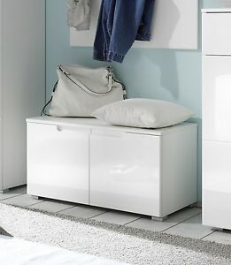 garderobenbank spice bank schuhbank wei hochglanz 80x40 cm flur ebay. Black Bedroom Furniture Sets. Home Design Ideas