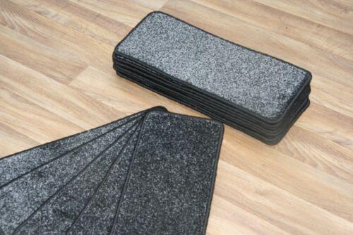 14 Tapis D/'Escalier CASE marches Majestic Noir Saxe 660 grands tampons!