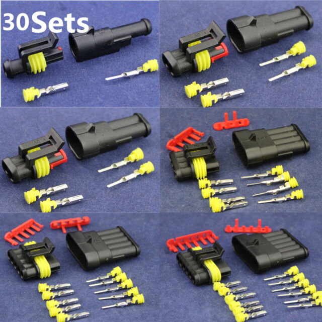 Wire Connector Sealed Boat Automotive Terminal Block Plug 30 Kit 1//2//3//4//5//6 Pin