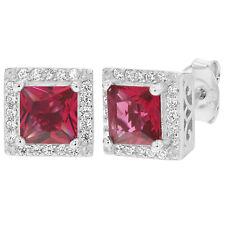 925 Sterling Silver Stud Earrings Red & Clear CZ Square Bezel for Women