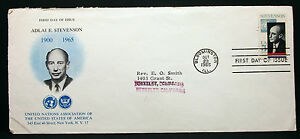 US-Ambassador-Stevenson-Cover-FDC-Bloomington-Stamp-5c-USA-First-Day-H-7532