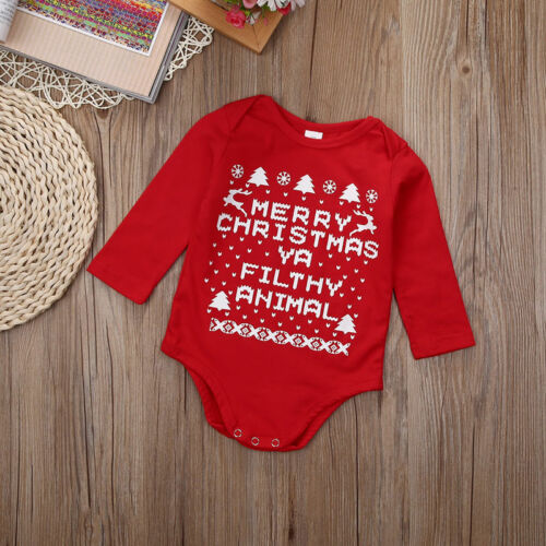 """/""""MY First Christmas/"""" Newborn Baby Girls Romper Bodysuit Outfits Christmas Gifts"""