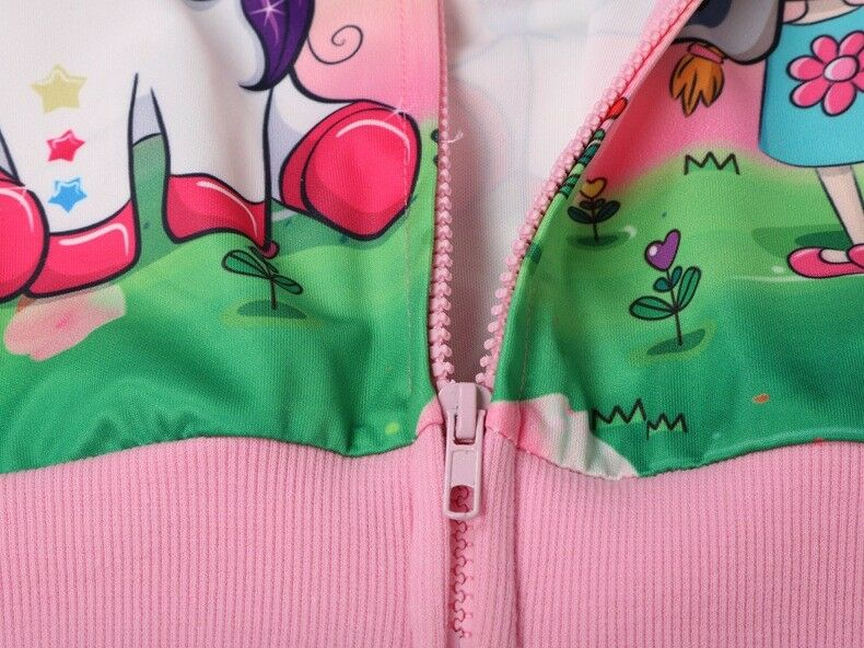 New Girls Unicorn Pocket Zip-Up Hoodie Jacket Sweatshirt Girls Clothes L22