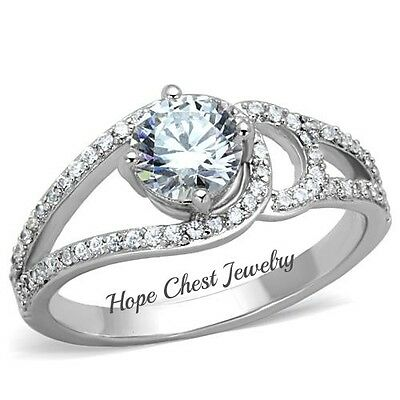 Women/'s Round Cut Solitaire CZ Stainless Steel Engagement Promise Ring Size 5-10