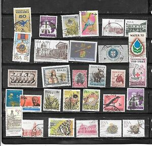 SOUTH AFRICA 30 DIFFERENT POSTALLY USED STAMP COLLECTION LOT SET PACKET W LARGE