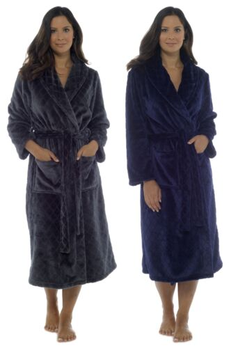Foxbury Ladies Embossed Collared Dressing Gown Robe