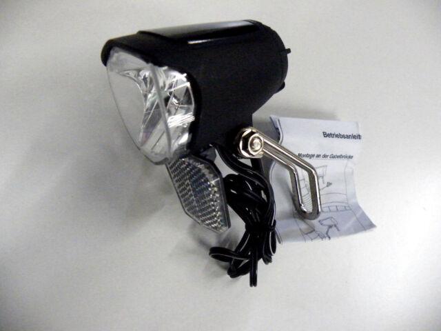 LED Fahrradscheinwerfer 70 Lux Fahrradlampe  für Nabendynamo, Standlicht, Sensor