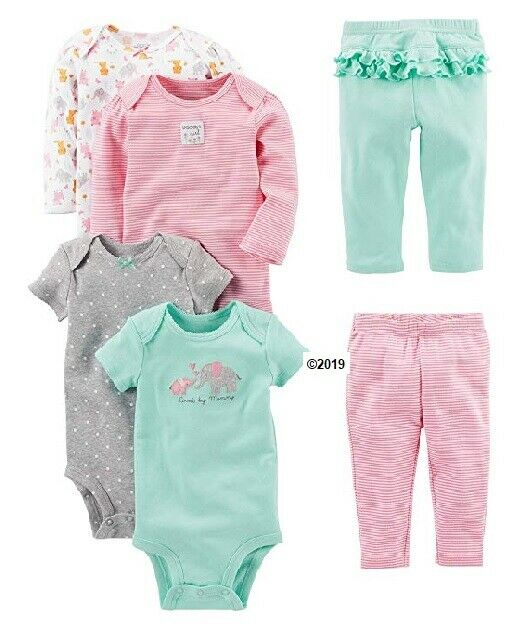 Carter/'s Simple Joys Baby Girls 4-Piece Fleece Jacket Pant /& 2 Bodysuits Set Nwt