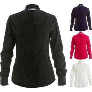 282662af082f Ladies Women Kustom Kit Mandarin Collar Fitted Long Sleeve Easy Iron ...