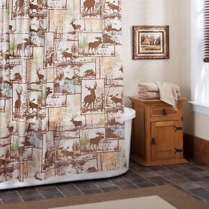 Image Is Loading Rustic Adirondack PEVA Shower Curtain Deer Moose Bathroom