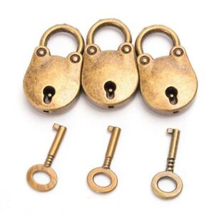 3pcs Antique Style Mini Bronze Locks With Keys Antique Brass Old Vintage Padlock