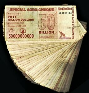 100 Million Zimbabwe Dollars AA 2008 1 Libya Dinar New Banknote Almost UNC Set