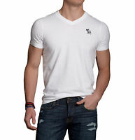 Abercrombie & Fitch Men Hunters Pass Moose Embroidered V-Neck Tee T-shirt White
