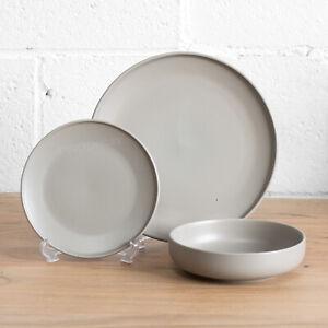 17bdbbf96620 Image is loading 12-Piece-Taupe-Grey-Stoneware-Dinner-Service-Crockery-