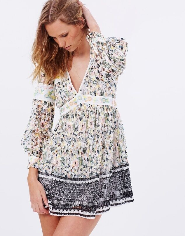 NWT FREE PEOPLE Cherry Blossom Embroidered Lace Mini Dress Ivory Combo Sz 4