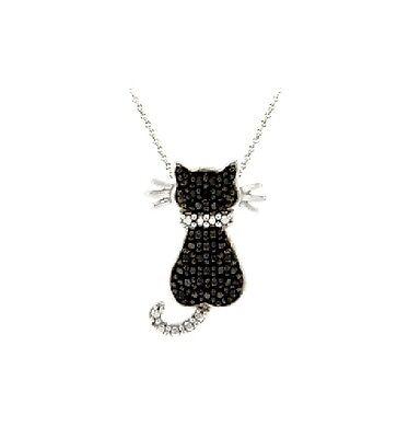 Black Diamond Accent Animal Necklace Paw Print, Monkey, Owl, Cat, Music, Pendant