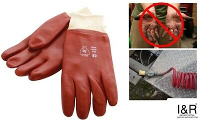 Heavy Duty PVC Gloves Lorry Men Ladies HGV Drivers Glove Oil Grease Resistant