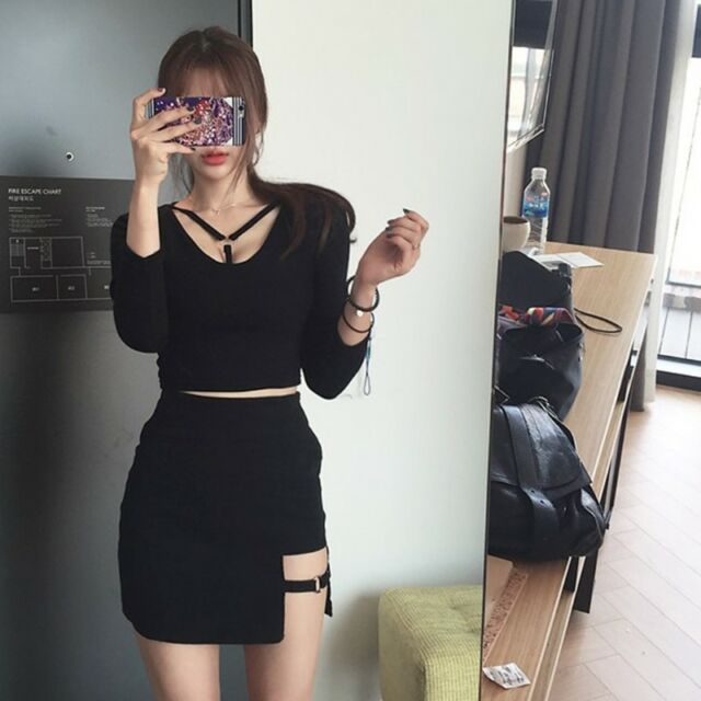 3defcbb54e Frequently bought together. Korean Style Black Package Hip Skirts Gap  Irregular Hem Pencil Micro Mini Skirt