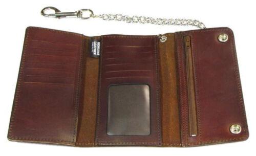 Made in US Biker Men/'s Buffalo Nickel Snap Antique Genuine Leather Chain Wallet