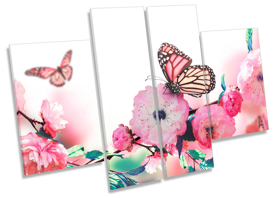 Floral Butterfly Flower  CANVAS WALL ART MULTI Panel Picture Print