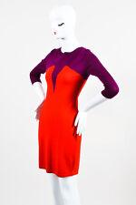 """Markus Lupfer NWT $425 Purple Red Wool """"Intarsia Bodice"""" LS Dress SZ M"""